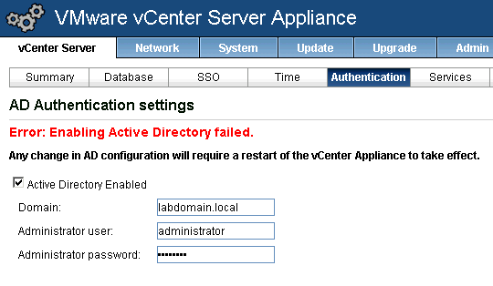 Enabling Active Directory failed